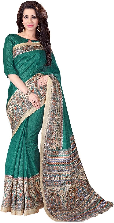AppleCreation Silk Cotton Saree with Blouse Piece (_Green_Free Size)