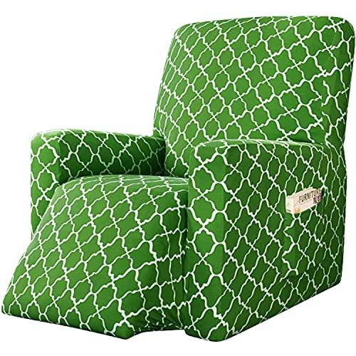 Jacquard Elasticizzato Copridivano Fodera per Poltrona, Coprisedile Chivas Poltrona Reclinabile Relax Completo Elasticizzato con Tasche-1 Posto (Grass Green)