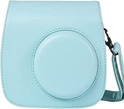 Protective & Portable Case Compatible with Fujifilm Instax Mini 9 8 8+ Instant Film Camera with Accessory Pocket and Adjustable Strap - Ice Blue by SAIKA