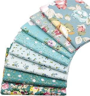 Green Floral Fat Quarters Fabric Bundles, Precut Quilt Sewing Quilting Fabric,8 Pcs 18
