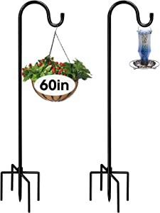 Avery Garden 60inch Shepherds Hook with 5 Prong Base for Outside Bird Feeders (2 Pack), Heavy Duty Metal Shepherds Hooks for Outdoor, Garden Hooks for Wedding Christmas Decor, Solar Lights,Wine Chimes