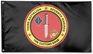 WINDST Personalized 3rd Battalion 7th Marines Decal Logo Garden Flag 3x5 ft Outdoor Garden Decorative Banner Black