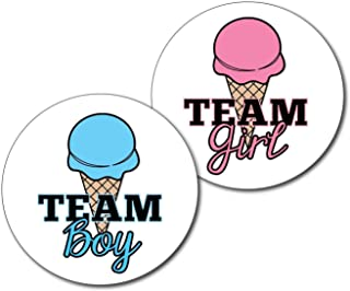 36 2.5 inch Team Boy and Girl Ice Cream Gender Reveal Party Stickers - What's the Scoop
