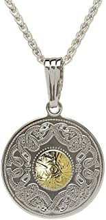Celtic Shield Necklace Sterling Silver and 18K Gold Plated Bead Made in Ireland