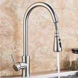 NeierThodore Pull Out Spout Kitchen Sink Faucet Single Handle Mixer Tap 360 Degree