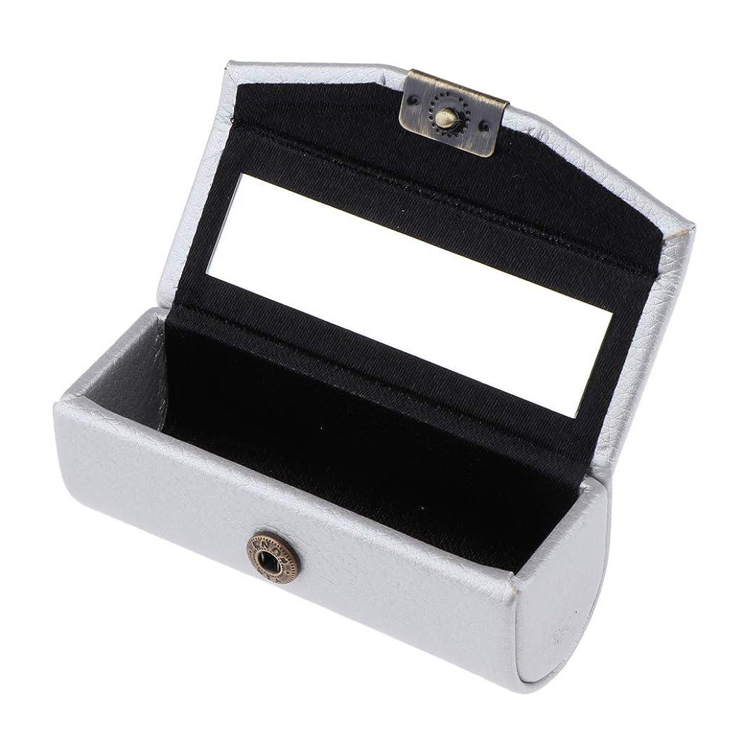 移住する月曜蒸留するIPOTCH 口紅ケース リップスティックケース 収納ホルダー 収納ボックス ミラー 多仕様選べ - 銀
