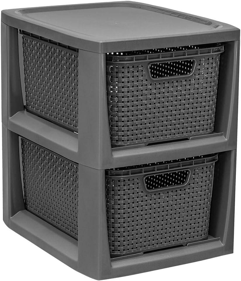 BranQ – Home essential Regal in Rattan Design, Kunststoff PP, Anthrazit, 29,5 x 24 x 32,8 cm