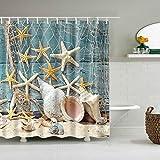 Furnily Strand Duschvorhang für Nasszelle Stoff Duschvorhang Bad waschbar 3D Digitaldruck Dusche Mehltau resistent Duschvorhang mit 12 Haken (Ocean Starfish)
