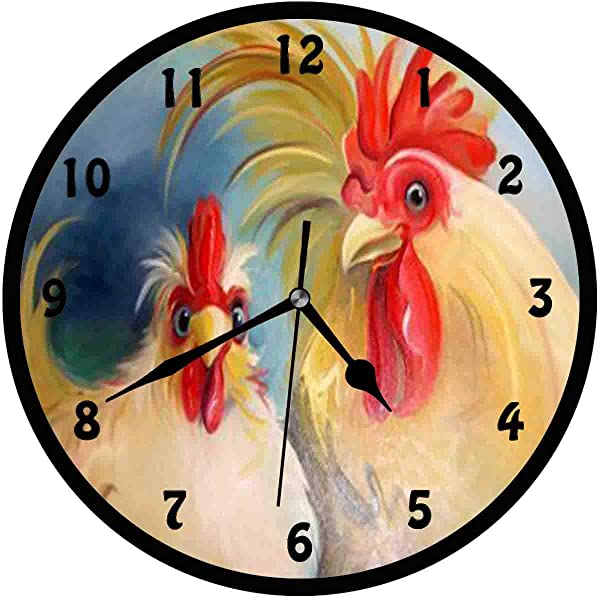 BCWAYGOD Funny Hen Rooster Couple Chicken Wall Clock Silent Non Ticking Home Art Bedroom Living Dorm Room Decor 12inch