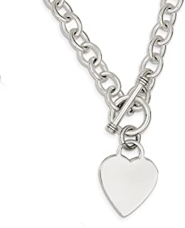 925 Sterling Silver Heart Link Toggle Chain Necklace Pendant Charm S/love Fine Jewelry Gifts For Women For Her