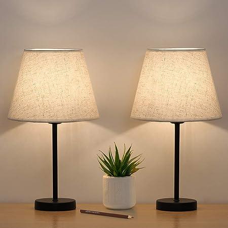 Lot de 2 petites lampes de chevet en lin avec abat-jour en métal pour chambre à coucher, salon, bureau, maison