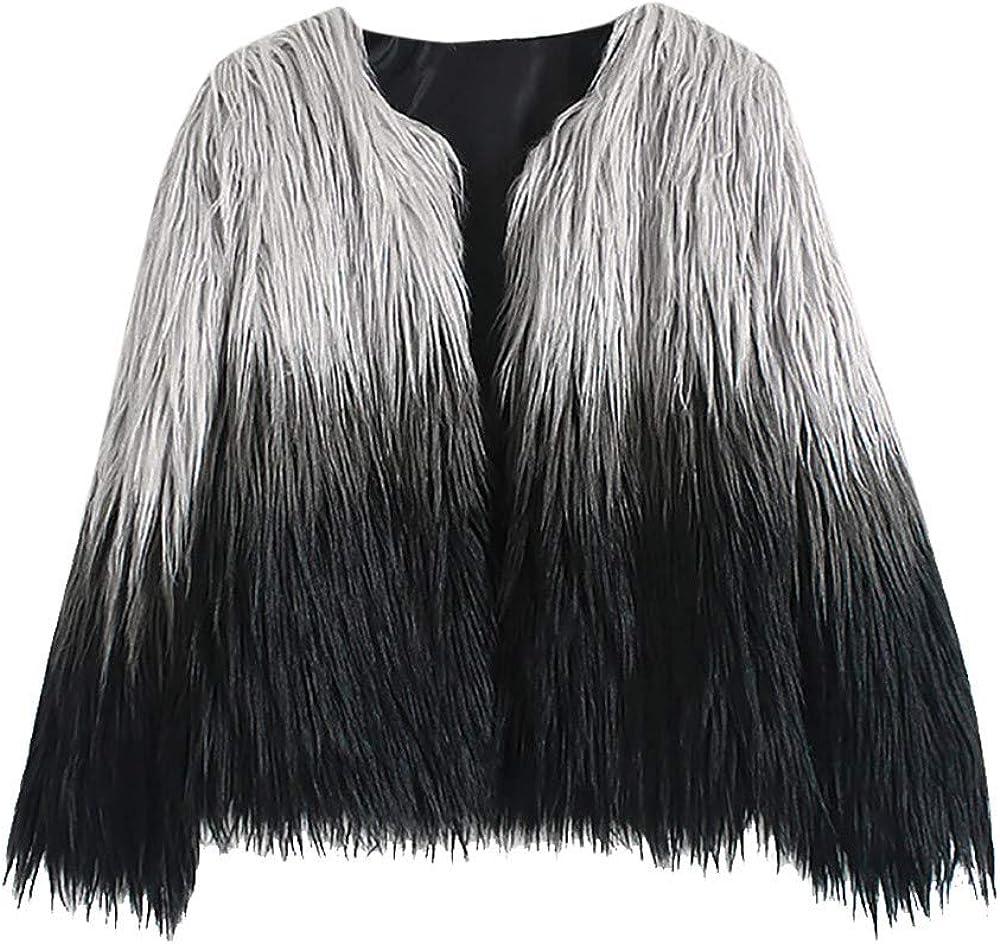 Kangma Women Winter Gradient Faux Fur Coat Jacket Parka Outerwear
