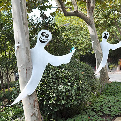 JOYIN Fantasma Flexible Decoración de árbol de 135 cm (2 Pack) para Decoración de Halloween al Aire Libre, Césped, Árbol, Pilar, Suministros para Fiestas de Fantasmas