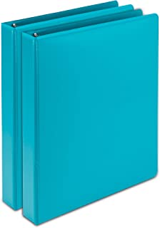 Samsill Earth's Choice Biobased Durable Fashion Color 3 Ring View Binder, 2 Inch Round Ring, Up to 25% Plant Based Plastic, USDA Certified Biobased, Turquoise, Value Two Pack