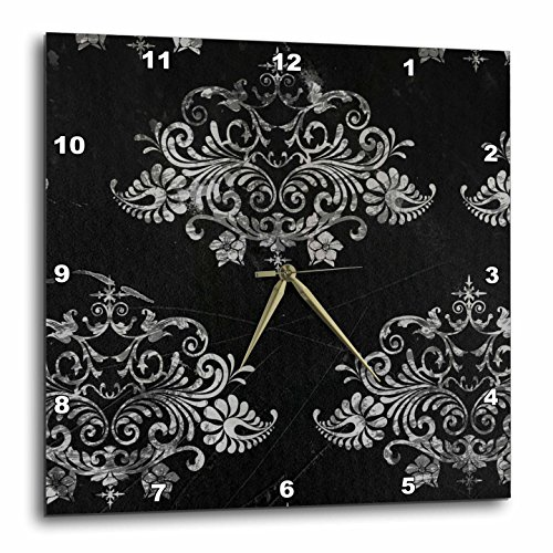 3dRose dpp_48541_3 Black Distressed Damask-Wall Clock, 15 by 15-Inch