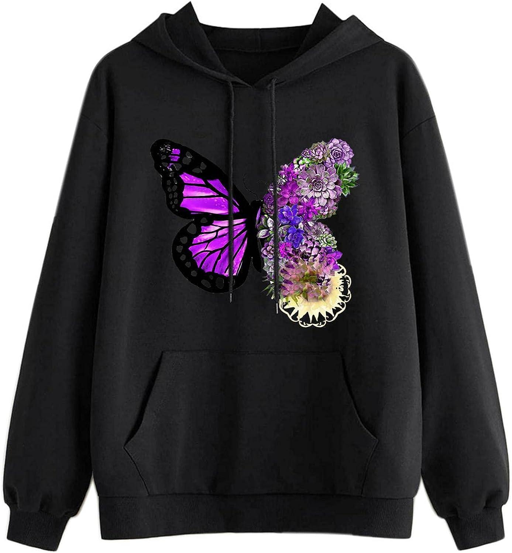 Toeava Butterfly Sweatshirt for Teen Girls Women Print Graphic Crewneck Hoodie Casual Long Sleeve Pullover Tops