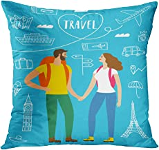 Moladika Throw Pillow Cover 18x18 Inch Square Pair Travelers Backpacks Romantic Backpacker Illustration Cushion Home Decor Living Room Sofa Bedroom Office Polyester Pillowcase