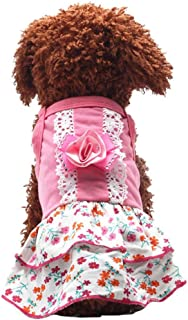Dog Dress, Pet Flower Print Skirt Crystal Bowknot Puppy T-Shirt Small Dog Vest