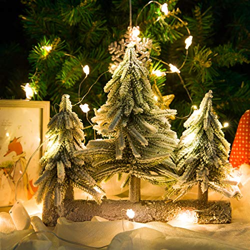 Tabletop Christmas Tree with Lights- 3 Artificial Mini Snowy Christmas Trees on Wooden Stand with 10 LEDs String Lights Ideal Xmas Tree Table Top Decoration for Indoor House Xmas Winter Holiday Decor