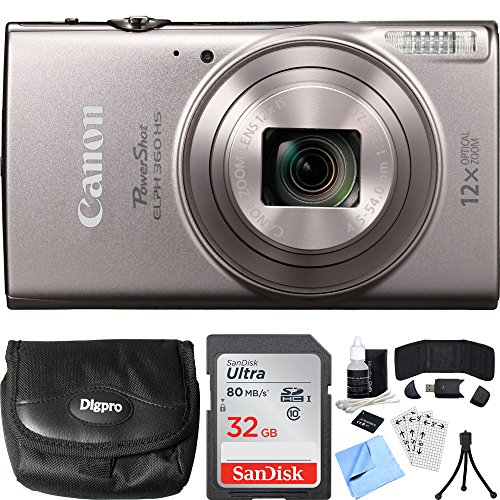 Canon PowerShot ELPH 360 HS Silver Digital Camera 64GB Card Bundle