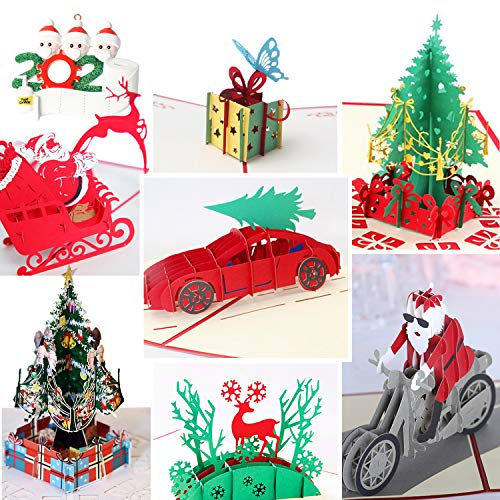 3D Christmas Cards Pop Up Greeting Cards, Funny Unique 3D Holiday Postcards - Gifts for Xmas, Religious Boxed Merry Christmas Thank You Cards - 7 Cards & Envelopes (Christmas)