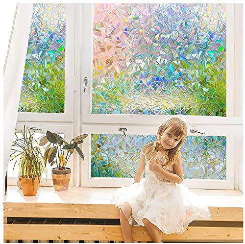 N / A Home kitchen bathroom office meeting room living room living room 3D rainbow film electrostatic cling film UV protection privacy decorative film A28 60x200cm