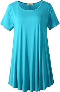 LARACE Women Short Sleeves Flare Tunic Tops Leggings Flowy Shirt