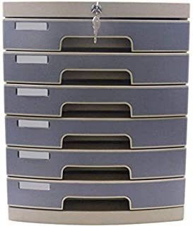 Armoires verticales 6 tiroirs de rangement de données de bureau serrure à clé en plastique 29,8 x 38,2 x 36,6 cm