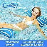 Fostoy 4-in-1 Water Hammock Inflatable Pool Float, Multi-Purpose Pool Floats Lounger(Saddle, Lounge Chair, Hammock, Drifter) Pool Chair Floats, Portable Pool Raft, Light Blue/White Stripe