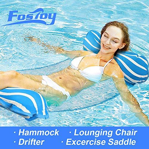 Fostoy 4in1 Water Hammock Inflatable Pool Float MultiPurpose Pool Floats LoungerSaddle Lounge Chair Hammock Drifter Pool Chair Floats Portable Pool Raft Light Blue/White Stripe