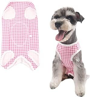 Due Felice 犬 術後服 術後ウェア エリザベスカラーに代わる ボタンテープ 皮膚保護 傷舐め 避妊 傷口の保護 小型犬 中型犬 格子縞 レッド XS