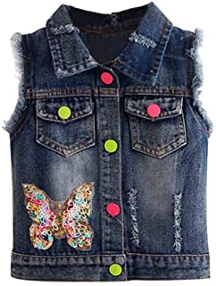 Mud Kingdom Girls Sequin Butterfly Denim Vest Button-Down
