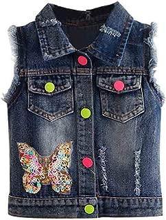 Girls Sequin Butterfly Denim Vest Button-Down