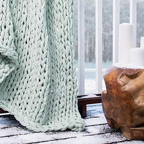 Berkshire Blanket Chunky Double Knit Luxury Soft Cozy Throw Blanket, Spa Blue, 50' x 60'
