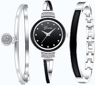 Souarts 3/4pcs Montre Femme Or Rose avec Boite avec 2 Bracelet pour Femme Élégant pour Quotidien ou Les Occasions Formelle...