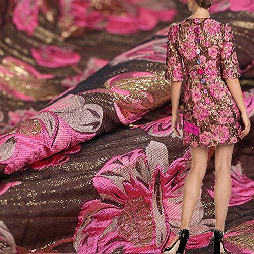 Elegante tela de jacquard con patrón de loto, tela de jacquard de estilo bordado, tela de brocado, tela de moda, para vestido de fiesta de boda, 55 pulgadas de ancho