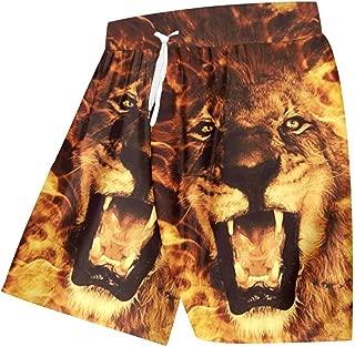 Unisex Cool Beach Shorts Print Flame Lion King 3D Board Bermuda Shorts Waist Elastic Boxers Trousers