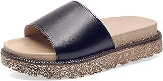 Women's Slip on Slides Platform Chunky Block Heel Sandals Open Toe Summer Slipper Shoes(Black 35/4.5 B(M) US Women)