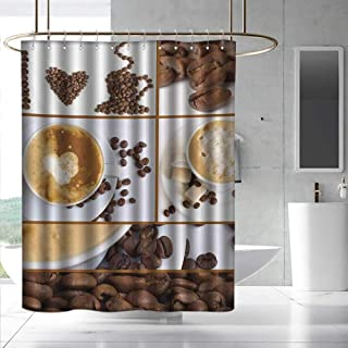 Fakgod Kitchen Modern Shower Curtain Coffee Themed Collage of Beans Mugs Hot Foamy Drink with a Heart Macro Aroma Photo Shower Curtains in Bath W55 x L86 Brown White
