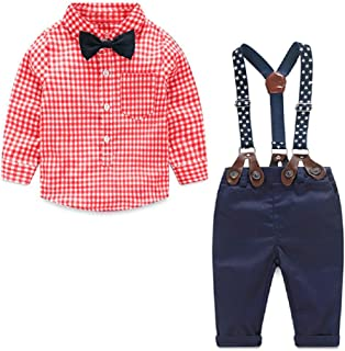 Yilaku Baby Boys Clothes Sets Bow Tie Shirts + Suspenders Pants 4pcs Toddler Boy Gentleman Outfits Suits