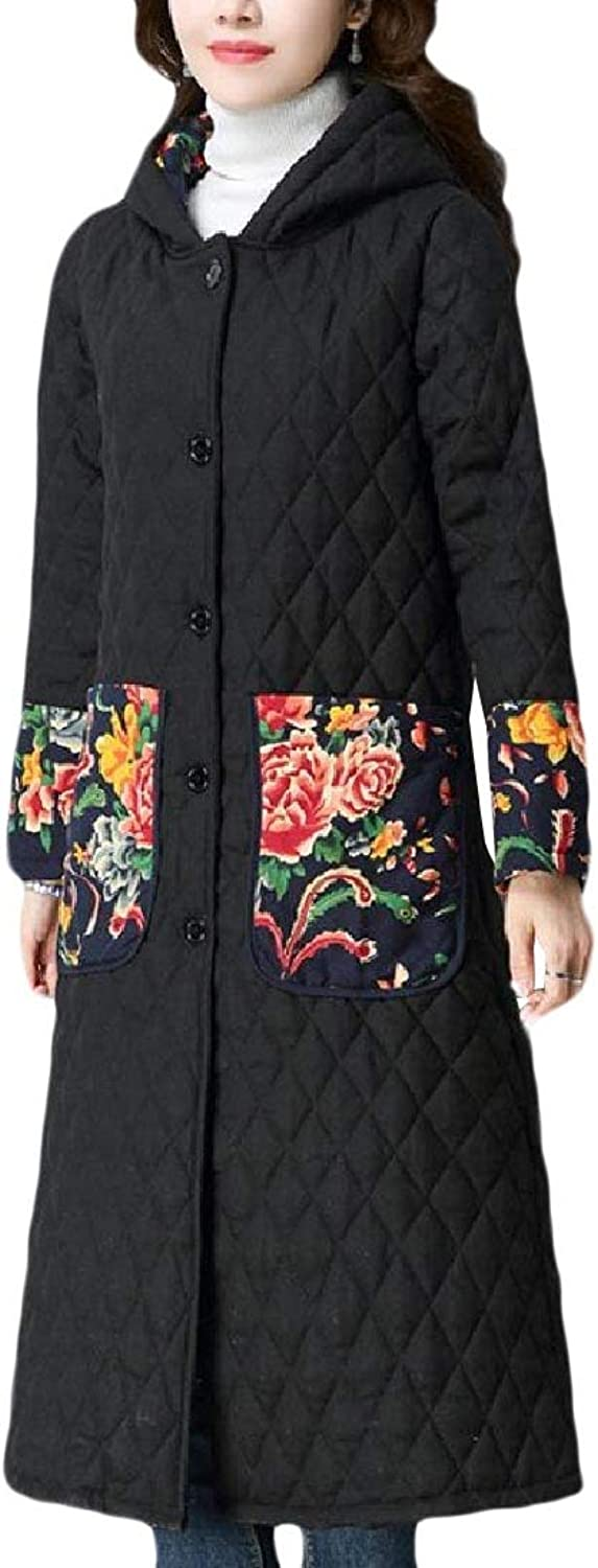 Abetteric Women Hoodie Thickened with Big Pockets Quilted Down Parka