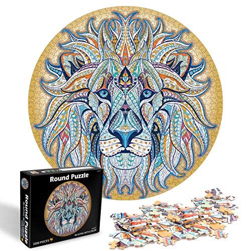 O-Kinee Rotonda Puzzle, 1000 pezzi Educazione Creativa Puzzle Rotondo, Puzzle Adulti, Puzzle Creativo, Giocattoli Educativi Fai da Te Giocattoli Puzzle impegnativi (Leone)