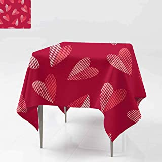AFGG Washable Square Tablecloth,Seamless Background with Decorative Hearts Valentine s,Table Cover for Dining 36x36 Inch Day D rops Texture Textile Rapport
