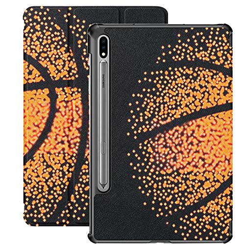 Funda Galaxy Tablet S7 Plus de 12,4 Pulgadas 2020 con Soporte para bolígrafo S, Canasta de Juegos de Fondo con tecnología Vectorial de Baloncesto Funda Protectora Delgada con Soporte para Samsung