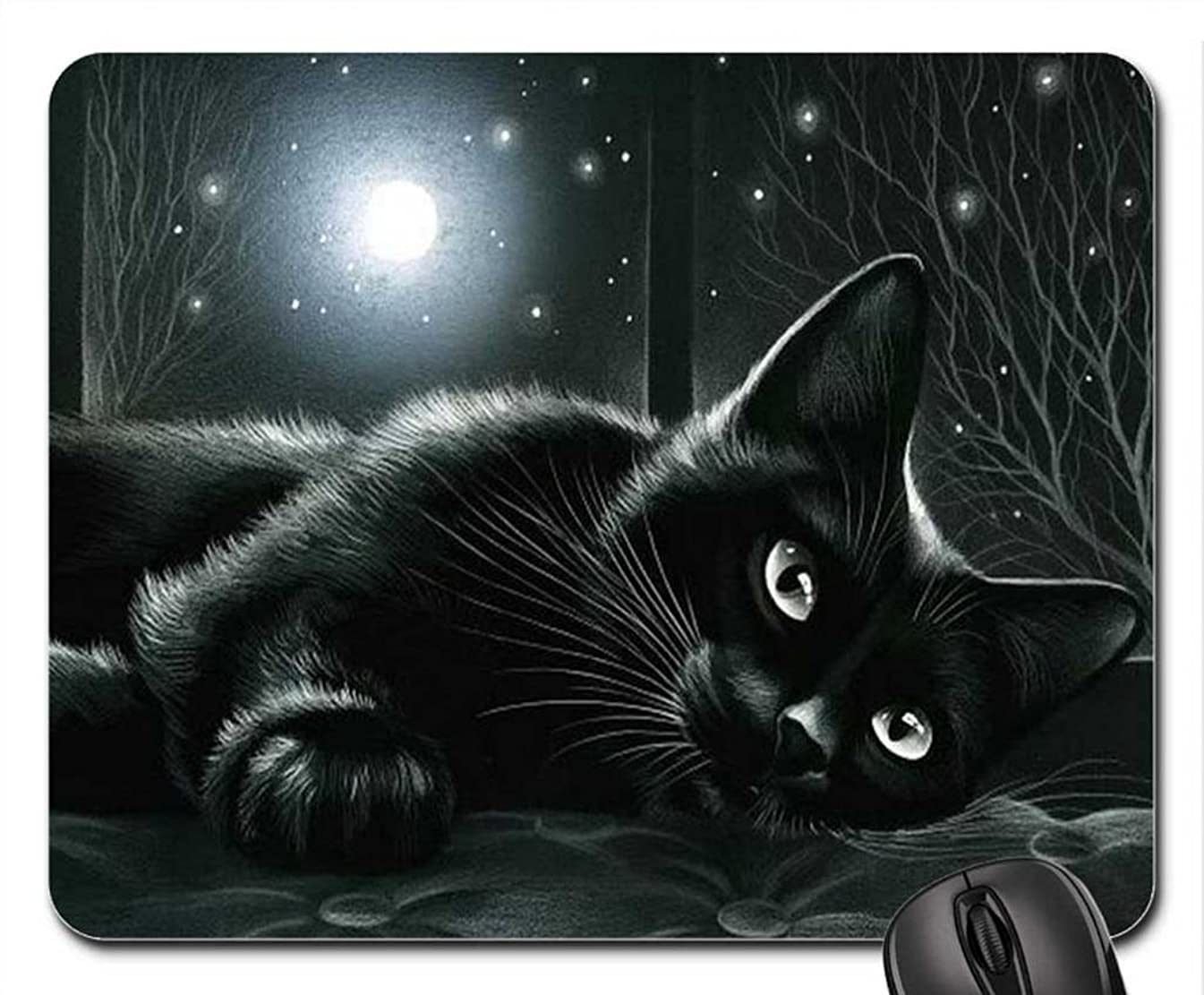 Black cat in moonlight Mouse Pad, Mousepad (Cats Mouse Pad)