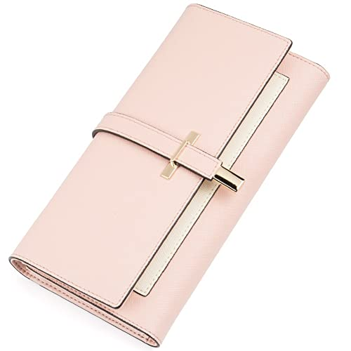 f4579a655672 Wallet for Women Leather Slim Clutch Long Designer Trifold Ladies Credit  Card Holder Organizer