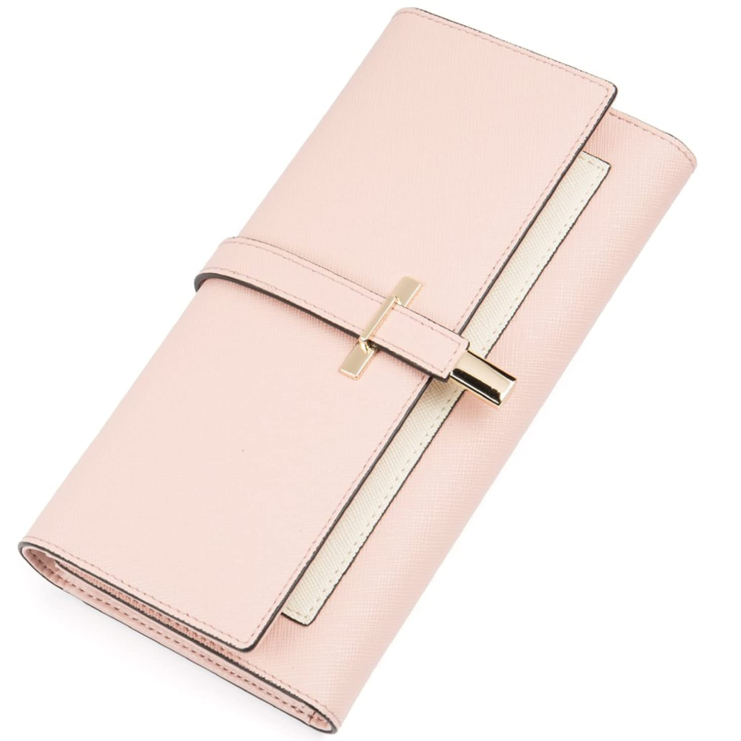 Wallet for Women Leather Slim Clutch Long Designer Trifold Ladies Credit Card Holder Organizer