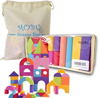 MOBU Foam Building Blocks for Toddlers Babies Kids -50 PCS Brick Set Educational Soft Building Blocks for 1 2 3 4 5 Year Old Playing Indoor Outdoor Bathroom Bathtub or Beach (Reusable Storage Bag)