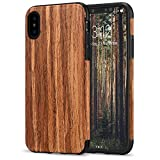 TENDLIN Compatible with iPhone Xs Case/iPhone X Case with Wood Grain Outside Soft TPU Silicone Hybrid Slim Case Compatible with iPhone X and iPhone Xs (Red Sandalwood)