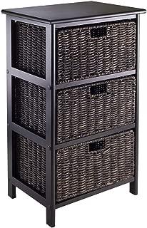 Wood & Style Premium Décor Storage Rack with 3 Foldable Baskets
